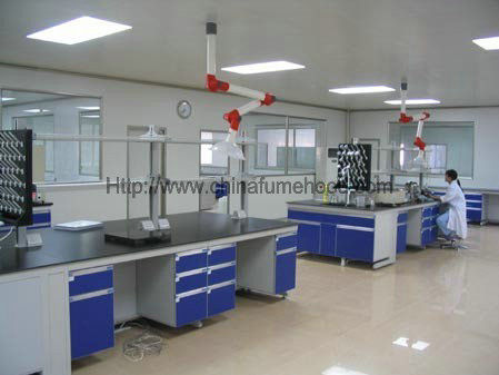 Steel C Frame Wood Lab Furniture , Counter Top Island Table For Laboratory